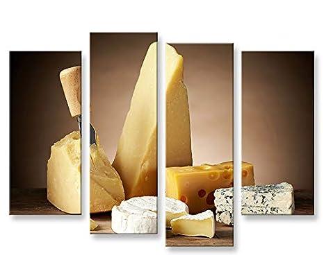 Quadro moderno Queso Cocina Gourmet 4P Impresión sobre ...
