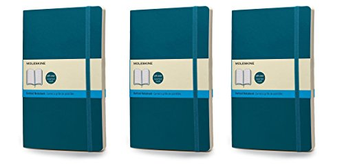 Pack of 3 Moleskine Classic Colored Notebook, Large, Dotted, Underwater Blue, Soft Cover (5 x 8.25)