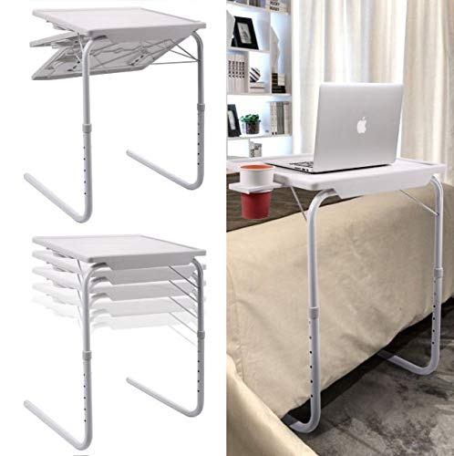 Cypress Shop 2PCS Adjustable Folding White Table Overbed Laptop Notebook Tablet Foldable Desk Overcouch Cup Tray Home Office
