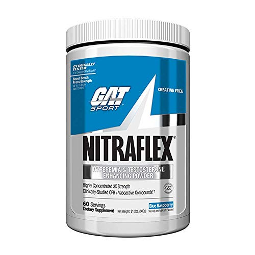 GAT – NITRAFLEX – Testosterone Enhancing Powder, Increases Blood Flow, Boosts Strength and Energy, Improves Exercise Performance, Creatine-Free Blue Raspberry, 60 Servings 600 Grams