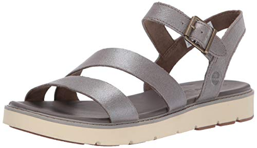 (Timberland Women's Bailey Park Summer Platform Sandals Flat Grey Full Grain, 9 Medium US)