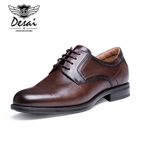 CSDM Pelle di cuoio genuino di del primo strato di pattini di vestito di cuoio , dark brown , 41