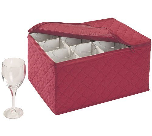 Stemware Storage FOR 12 - Crimson Quilted Canvas - Case Glassware