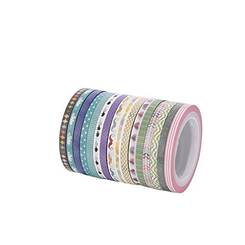 Agu Cute 3mm wide skinny Washi Tape With Colorful Designs and Patterns - Perfect For Planners, Decorating, Scrapbooking -
