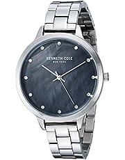 Kenneth Cole New York Reloj de vestir para mujer, de cuarzo, acero inoxidable y piel, Classic, Silver-Toned (Model: KC15056008), Mediano