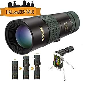 Telescopio Monocular Zoomable, SGODDE 8 - 24 x 30 HD Telescopio Incluye Trípode y Clip para el Teléfono Conveniente para Acampar, Tomar Fotos, etc.