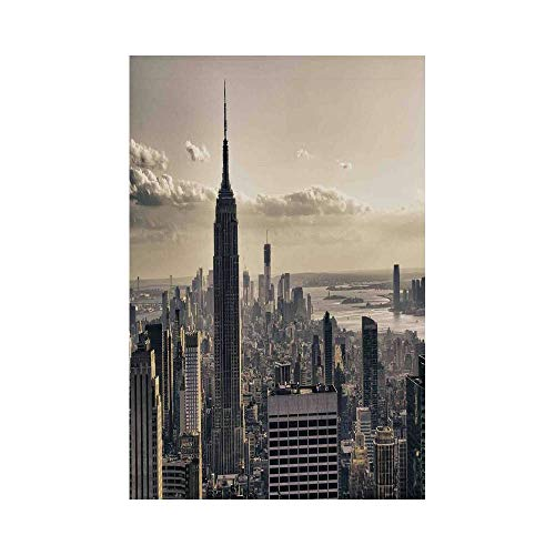 Polyester Garden Flag Outdoor Flag House Flag Banner,NYC Decor,Aerial View of NYC in Winter Time American Architecture Historical Popular Metropolis Photo,Beige Grey,for Wedding Anniversary Home Outdo