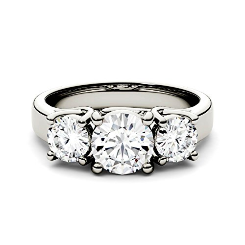 - Forever One Round 6.5mm Three Stone Moissanite Ring-size 7, 2.00cttw DEW (D-E-F) by Charles & Colvard