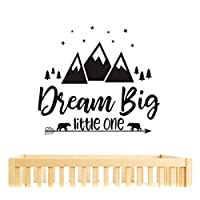 Dream Big Little One Quote Wall Decals, Nursery Wall Decals, Quote Decal, Woodland Wall Stickers, Vinyl Wall Decals for Children Baby Kids Boys Bedroom(Y07) (57x51cm, Black)