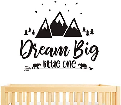 Dream Big Little One Quote Wall Decals Nursery Wall Decals Quote Decal Woodland Wall Stickers Vinyl Wall Decals For Children Baby Kids Boys Bedroom Y07 57x51cm Black Home Kitchen Amazon Com