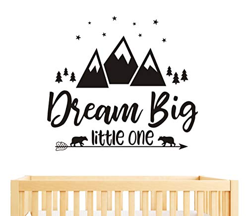 - Dream Big Little One Quote Wall Decals, Nursery Wall Decals, Quote Decal, Woodland Wall Stickers, Vinyl Wall Decals for Children Baby Kids Boys Bedroom(Y07) (57x51cm, Black)