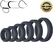 Men's Lock Rings Silicone Time Delay Rings Super Soft Elastic 6 Pcs 100% Secret Pac