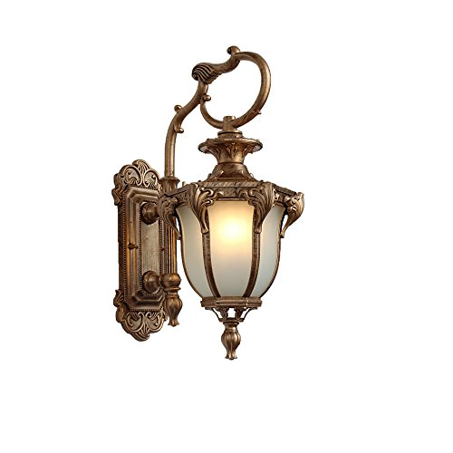 Wrought Iron Bronze Hanging Chandelier - JYKJ European Outdoor LED Wall Lamp Retro Restaurant Wrought Iron Waterproof Wall Lamp Hotel Staircase Lamp Garden Light Balcony Living Room Corridor Garden Wall Lamp (Color : Bronze)