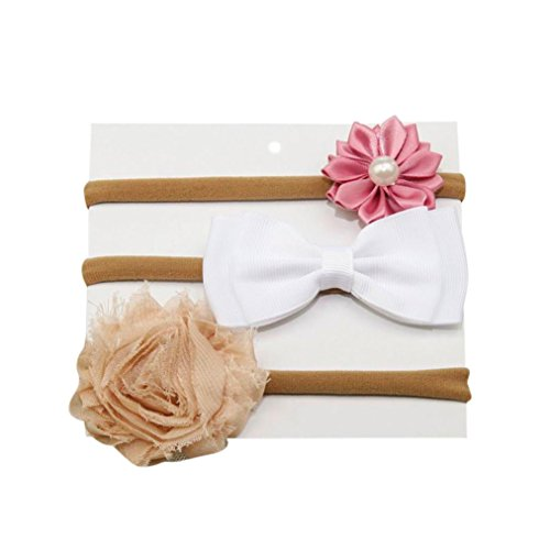 Amanod 2018 hot sale 3Pc Kids Elastic Floral Hair Girls baby Bow Hairband Set from Amanod