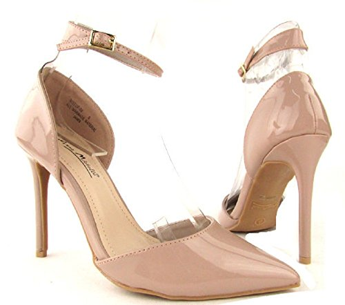 Anne Michelle Rise Up-08 Patent Ankle Strap Point Toe Pump (6.5M, (Anne Michelle Pumps)