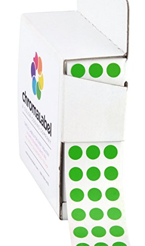 ChromaLabel 1/4 inch Color-Code Dot Labels | 1,000/Dispenser Box (Green)