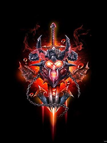 (World of Warcraft Death Knight Sword Fire Logo Emblem Banner Game Fan Art 24x18 Poster Print)