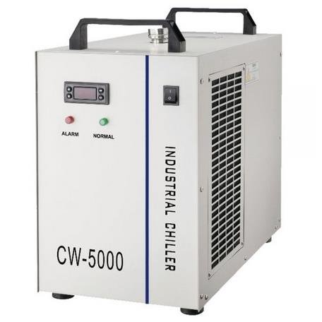 CW-5000BG Industrial Water Chiller for Single 80W/100W CO2 Laser Tube Cooling, 0.52HP, AC 1P 220V, 60Hz 800W cooling capacity, 30W DC pump, 1 outlet and 1 inlet. Emitting rate higher than 60%. The water temperature is able to be adjusted.