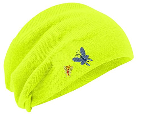 Butterflies Embroidery Embroidered Slouch Long Beanie Skully Hat Cap Yellow (Embroidered Beanie Butterfly)