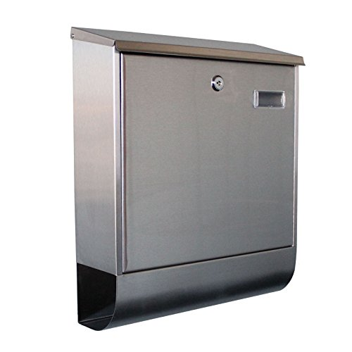 (Modern Wall Mount Mailbox with Lock - Water Proof Post Box Stainless Steel Letterbox with Retrieval Door & Newspaper Roll)