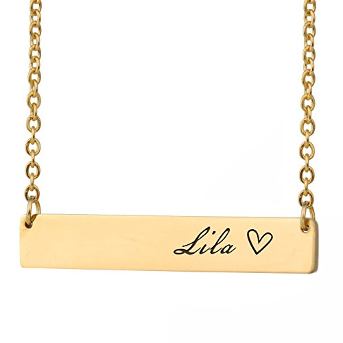 HUAN XUN Lila Name Nathan Name Necklace Bar Initial Necklace Personal Jewelry Birthday Valentine - Necklace Gold Lila