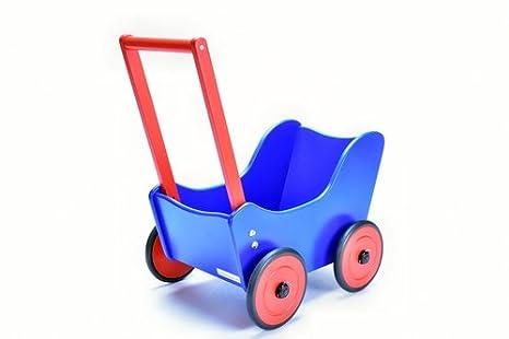 Amazon.es: Madera Carrito de muñecas muñeca carro excl. Diseño azul rojo con ropa + Andador freno de Suabia Kids®: Juguetes y juegos