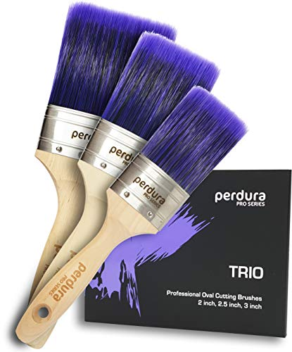 Perdura Trio Home Paint Brush Set - Professional Pack of 3 Premium Oval Cutting Brushes 2, 2.5 and 3 inch for Exterior Interior Home and Commercial use Water and Oil Based Paints Stains and Sealers