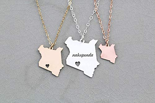 Kenya Necklace - IBD - Africa Country Cutout Adoption Gift Mission Trip Personalize Name Coordinates - Sterling Silver - Laser Engraved