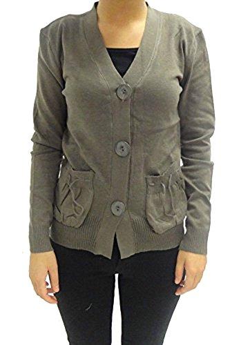Camiseta de manga larga para mujer abotonado suave Cardigan Tamaño 6 8 10 12 marrón