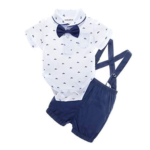 BIG ELEPHANT Baby Boys 2 Piece T-Shirt Suspender Shorts Clothing Set
