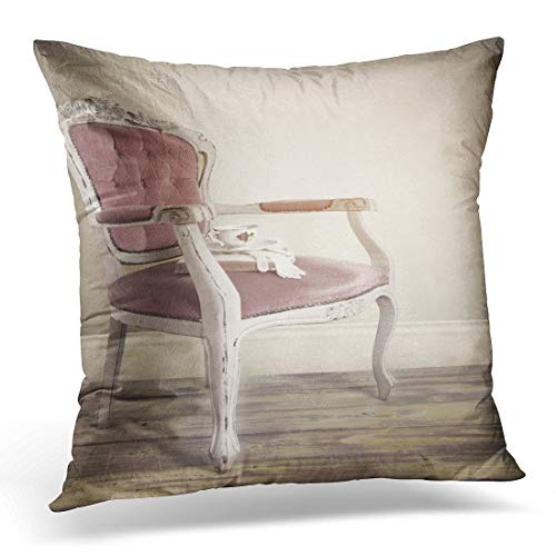 Krui-LR Throw Pillow Covers Pink Interior Vntage Retro French Louis Xv Chair with Teacup King Decorative Pillow Case Home Decor Square 18W X 18L Pillowcase