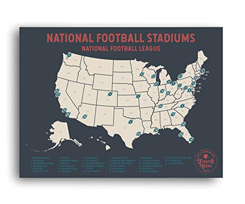 Epic Adventure Maps NFL Travel Map - Mark Your Travels to Your Favorite Professional Football Stadiums - Great Graduation Gift or Gift for Dad