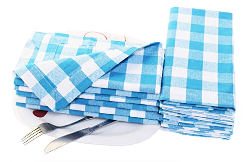 Checker Dress Cotton - Cloth Napkin in Gingham Plaid Check Fabric-18x18 Light Blue, Wedding Napkins,Cocktails Napkins,Fabric Napkins,Cotton Napkins Mitered Corners & Generous Hem, Machine Washable Dinner Napkins Set of 12