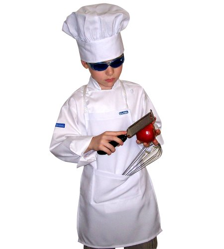 Halloween Cosyume (Chefskin Kids Children Set Apron+ Hat M Fits 7-12 White Real Fabric)
