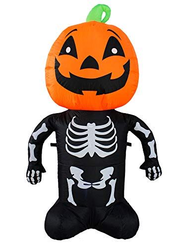SEASONBLOW 4 Ft Halloween Decorations Inflatable Pumpkin Skeleton