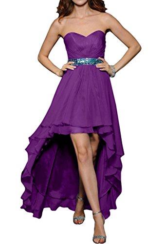 ivyd ressing pietre a forma di cuore cintura da donna Fashion Hi-Lo Party Festa Prom abito abito sera vestito Violett 44