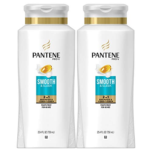Pantene Shampoo and Conditioner 2 in 1, Pro-V Smooth and Sleek for Dry Hair, 25.4 Fl Oz, Pack of 2