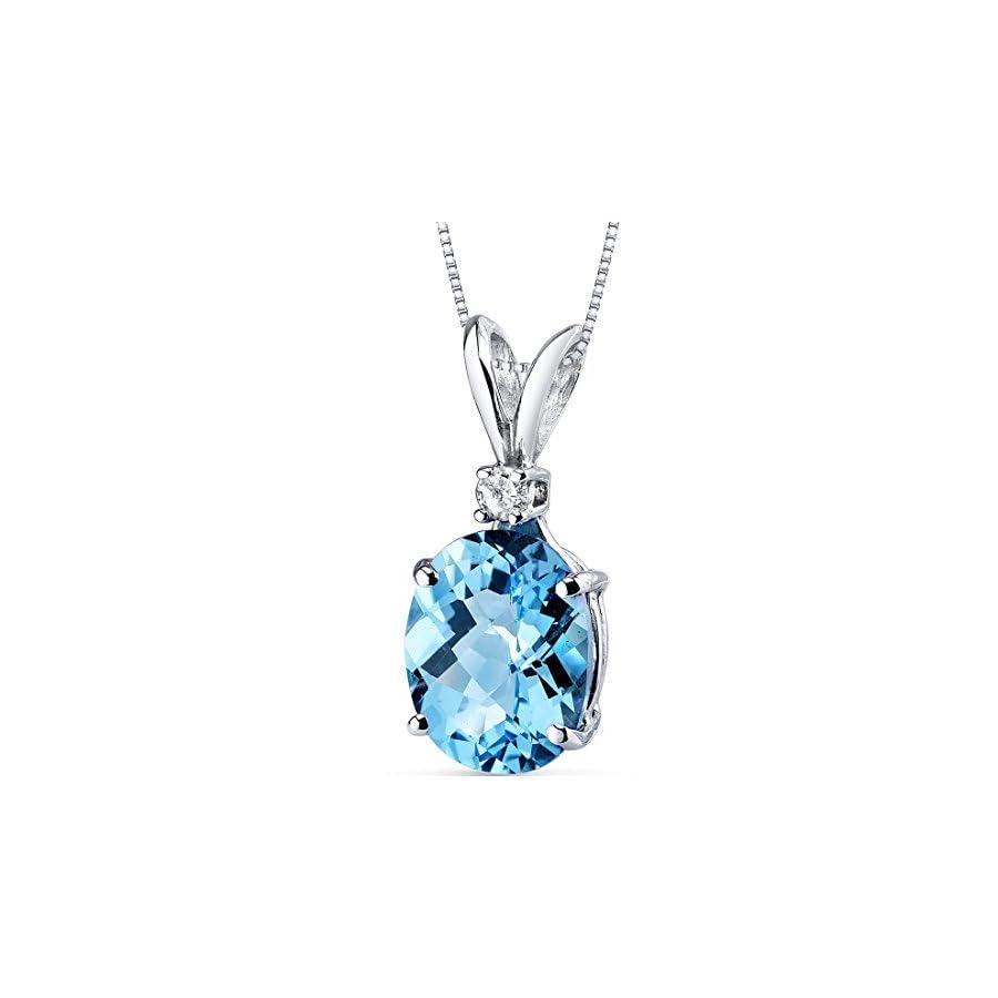 14 Karat White Gold Oval Shape 3.00 Carats Swiss Blue Topaz Diamond Pendant