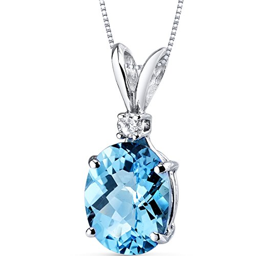 14 Karat White Gold Oval Shape 3.00 Carats Swiss Blue Topaz Diamond Pendant ()