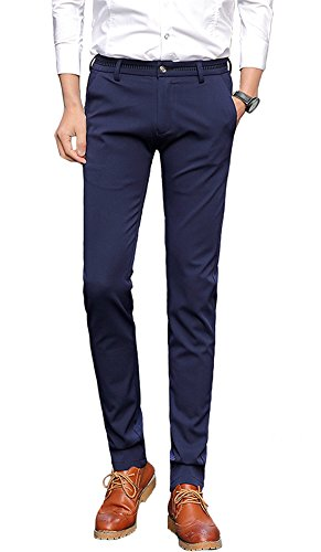 Mens Skinny Straight-Fit Work Pants (US Size 30 / Tag Asia 31, 306 Navy) ()