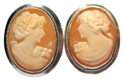 Earrings Post Back Master Carved, Carnelian Conch Shell Sterling Silver Cameo Cameo Sterling Silver Setting