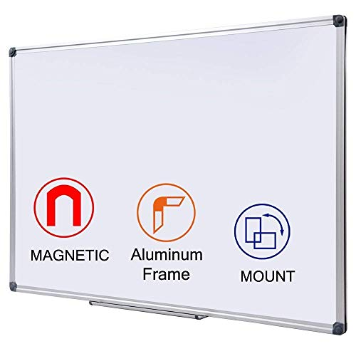 - 48 x 36 Inch Magnetic Dry Erase Board with Pen Tray| Wall-Mounted A luminum Whiteboard for Kids, Students & Teachers
