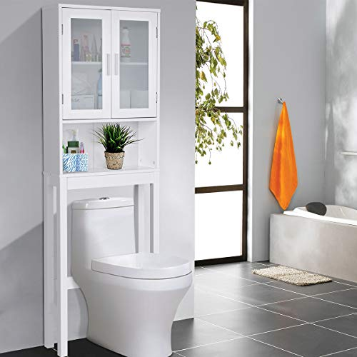 - Giantex Over-The-Toilet Bathroom Storage Space Saver with Adjustable Shelf Collect Cabinet, White (2 Glass Door w/Shelf)