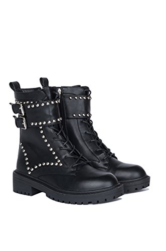 AKIRA Women's Acting Up Studded Combat Boots