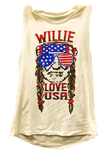 Women Willie Tank Love USA Letters American Flag Print Casual Sleeveless Tank 4th of July Shirt Size S - Light T-shirt Womens Drunk