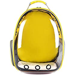 GZU Backpack Carrier Transparent Capsule Pet Cat Dog Kitty Puppy Outdoor Travel Bag - Yellow