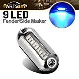 Partsam 3-1/2'' inch Boat Blue High-Intensity LED Underwater Light Clear Lens Stainless Steel Trim Ring, Green Led Pontoon Marine/Boat Transom Accent Light Surface Mount 9-5050-SMD