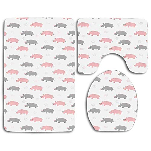 YGUII Diagonal Pattern of Rhinoceros in Soft Grey and Pink Shades with Dots Thicken Skidproof Toilet Seat U Shaped Cover Bath Mat Lid Cover