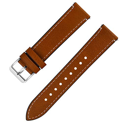- Fullmosa Quick Release Leather Watch Band, 6 Colors Wax Oil 14mm 16mm 18mm 20mm 22mm 24mm Leather Watch Strap,20mm Light Brown+Silver Buckle-QR