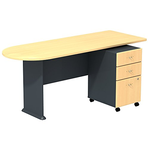 Bush Business Furniture Series A Beech/Slate 72W Peninsula Desk with 3-Drawer Mobile Pedestal